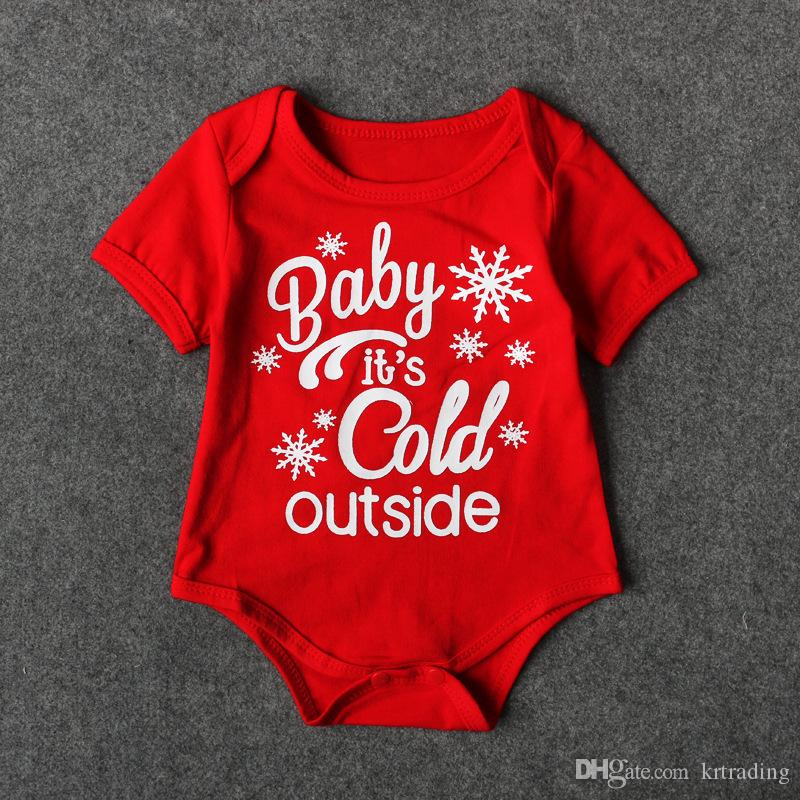 2019 Baby Christmas Red Romper Cute Letters Printing Infants Short Sleeve  Onesie Baby Xmas Clothing From Krtrading, $3.62
