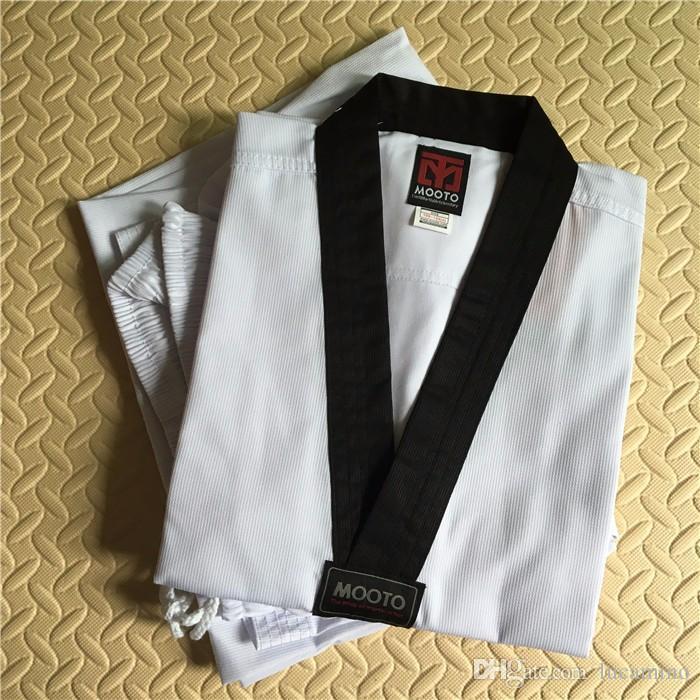 roupas Karate adulto fotos reais criança MOOTO Taekwondo terno Taekwondo uniforme novo design de alta qualidade WTF Mooto taekwondo dobok