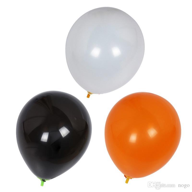 100/Pcs Ballon Halloween Contrast The Atmosphere Venue Decoration Solid Color Black White Yellow Festival Balloon