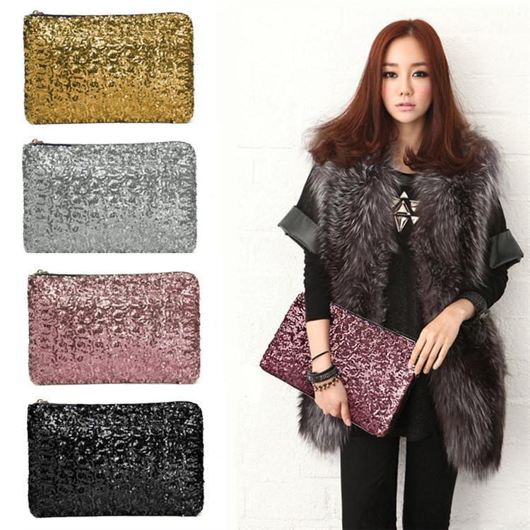 2016 New Fashion Dazzling Glitter Sparkling Bling Sequins Evening Party purse Bag Handbag Women Clutch wallet