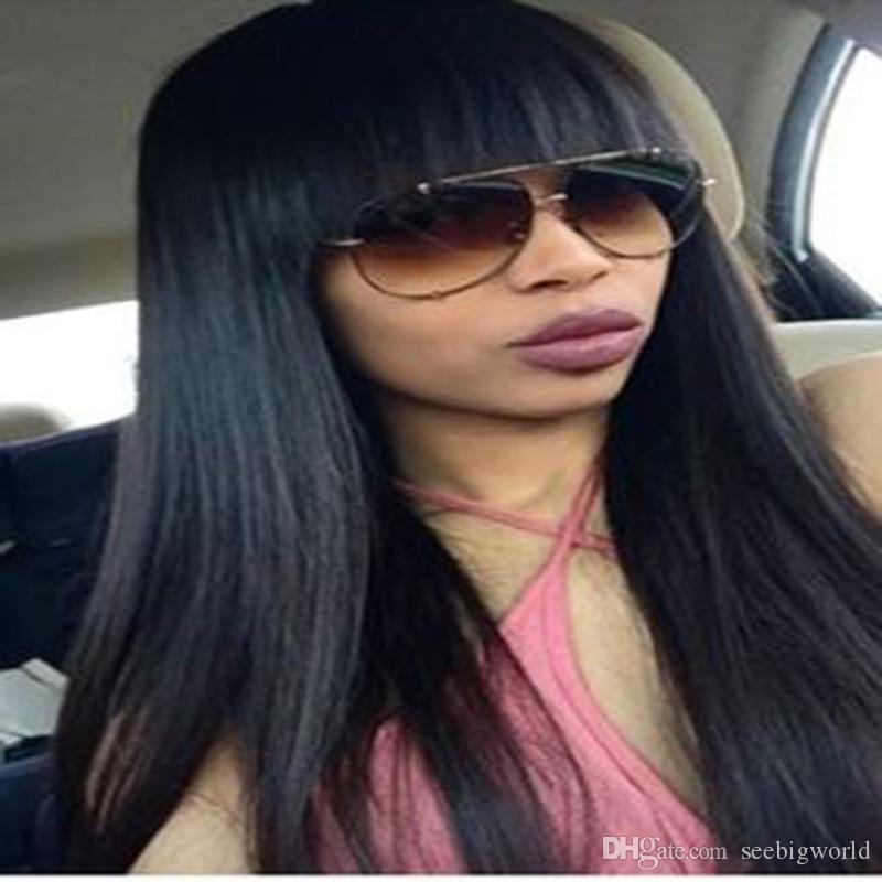 Hot Silky Straight Simulation cheveux humains longue et droite soyeuse perruque noire avec bang pour les femmes noires