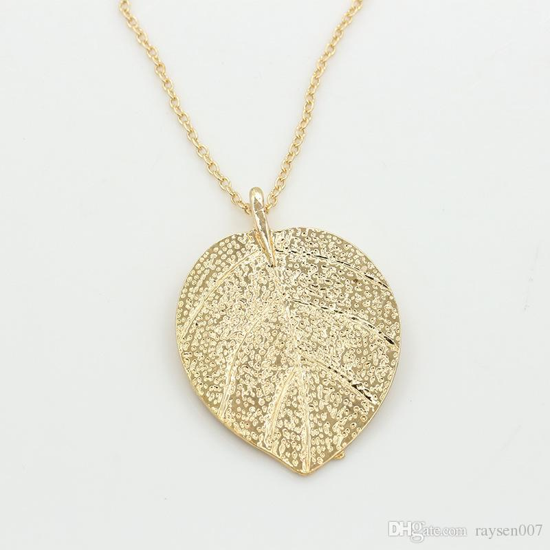 Luxury leaf Sweater Chain pendant necklace 18K gold plated fashion Sweater Chain Necklace Jewelry perfect accessories for women men