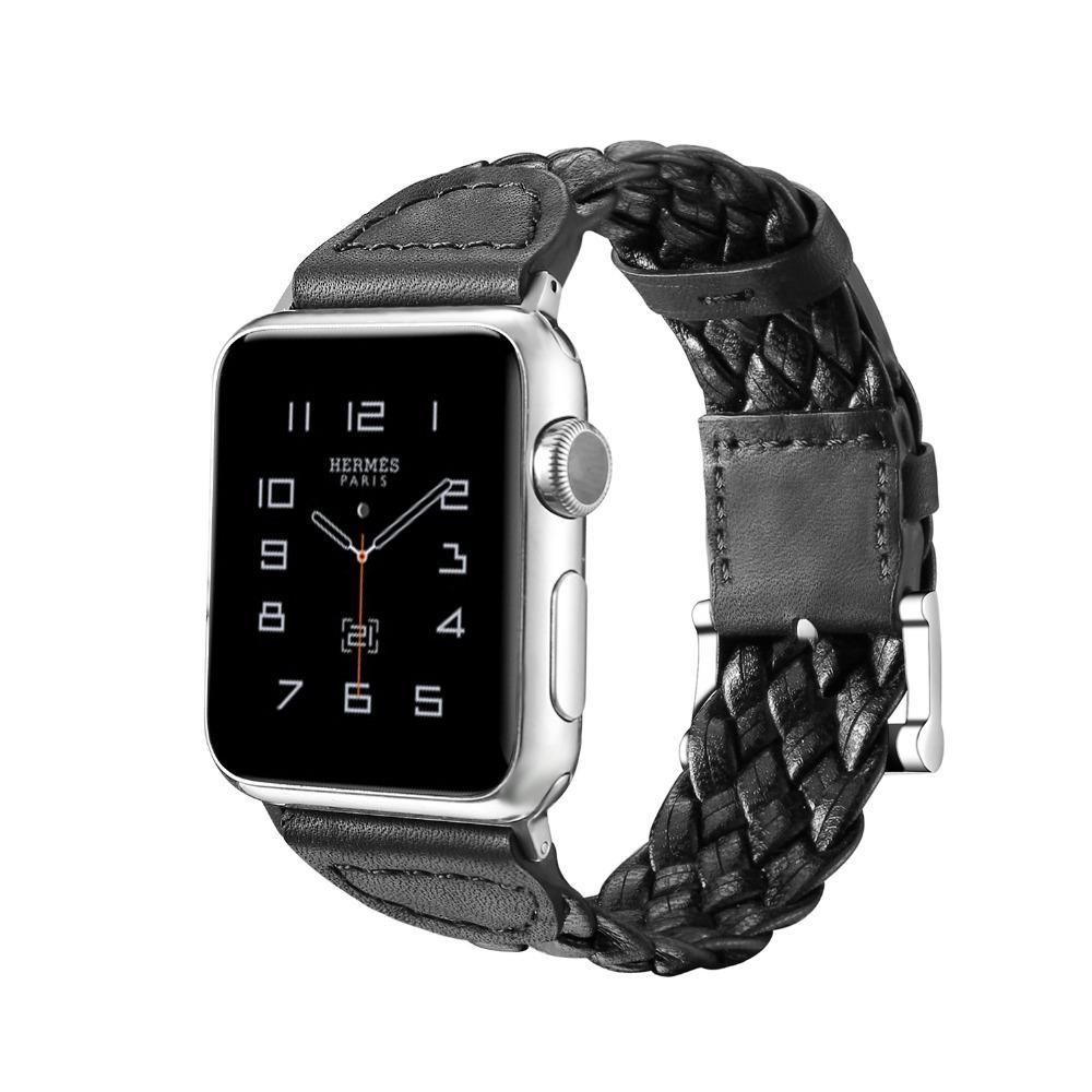 Nueva moda hecha a mano de cuero genuino exquisito correas para Apple Watch 38mm 42mm banda para Iwatch Bandas 1 2 Series pulsera