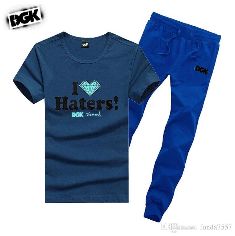 s-5xl M6463 SPEDIZIONE GRATUITA uomo DGK tute in cotone t-shirt + pantaloni lunghi skateboard solido hip hop lettera Per il tempo libero tuta