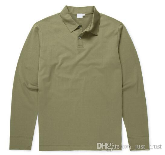 2018 Famosos homens de negócios de Golfe camisas Polo de manga longa de algodão Bordado Pônei Polos Camisas Custom Made Classic fit Populares polos dos homens