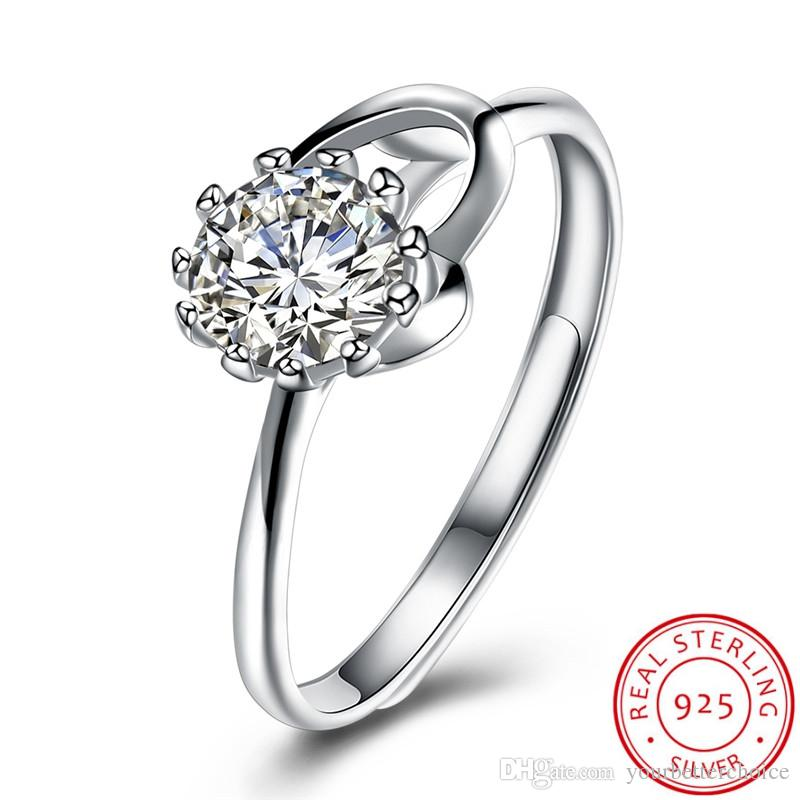 Romantic Women's Sterling 925 Silver Open Prong Setting Sparkling Round Cut Cubic Zirconia Solitaire Heart Ring Free Shipping