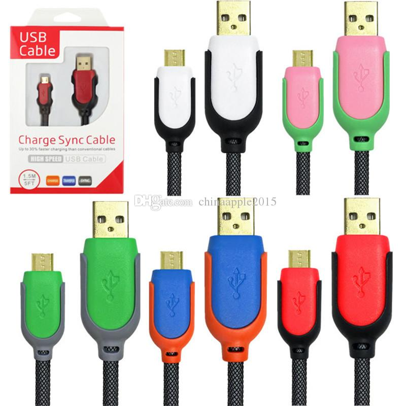 For S6 S7 S8 Braided fabric steel mesh micro type c usb data charger cable 1.5m 5FT Cables for samsung htc lg android phone 6 7 8