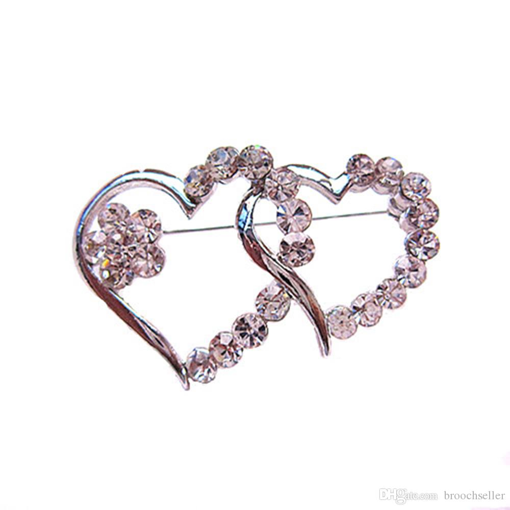 Rhodium Silver Tone Clear Diamante Crystal Double Heart Small Pin Brooch