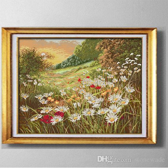 Daisy bellissimi fiori, fai da te fatti a mano punto croce set di cucito kit di ricamo dipinti contati stampati su tela DMC 14CT / 11CT