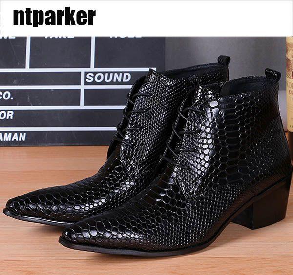 Uomini di lusso Scarpe in pelle nera Alta moda per il tempo libero Fashion Designer Stivaletti stringati Stivali con tacco alto a forma di tacco, Grandi taglie