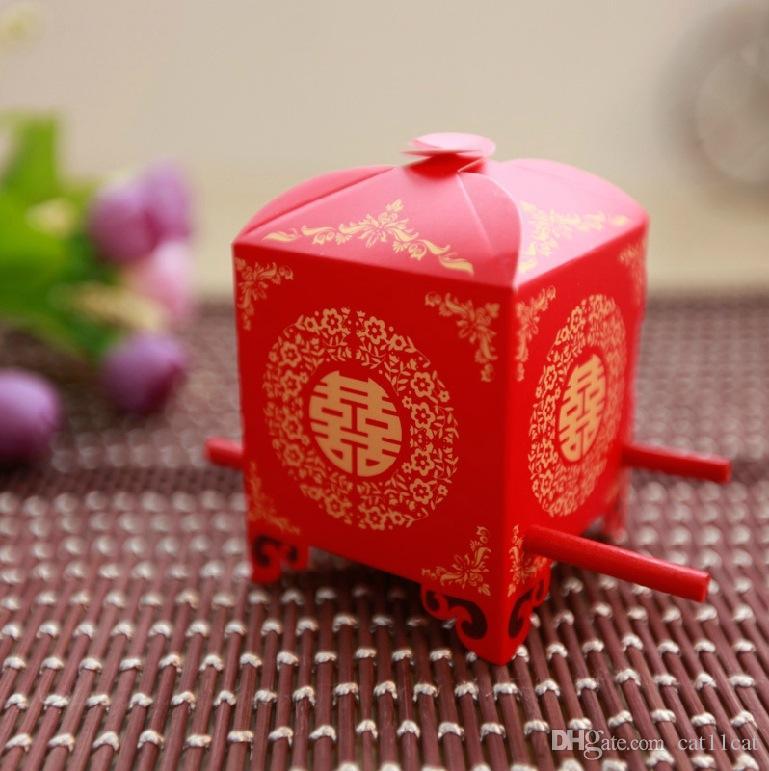 DHL الجملة الصينية الآسيوية نمط الأحمر مزدوجة السعادة سيدان كرسي الزفاف مربع لصالح 50PCS / LOT مربع هدية لصالح حزب الحلوى
