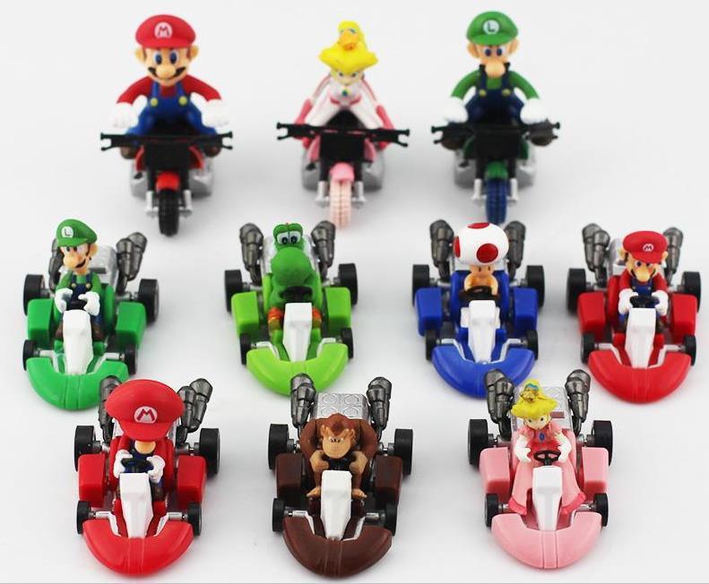 ação collectible figuras Super Mario Bros Kart Pull Voltar Car figura 10pcs Toy / set brinquedos Mario Brother retração Carros Dolls Super Mario Bros
