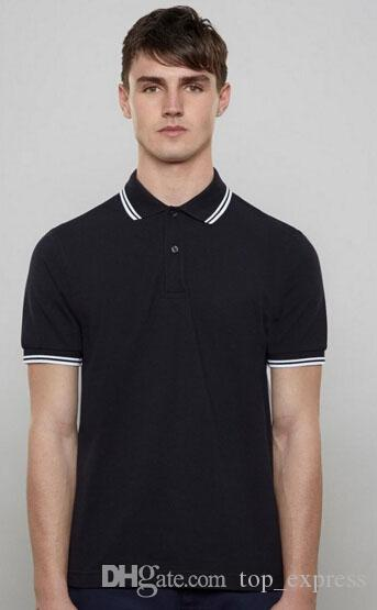 Express London Brit Men Solid Polo Shirts With Leaf Cotton Short Sleeve Striped Collar Sport Polos England Shirt White Black