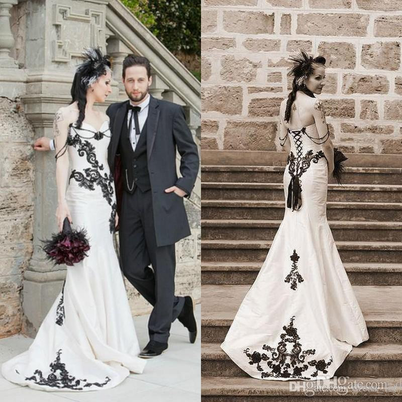 Vintage 2016 Black And White Taffeta Mermaid Wedding Dresses Cheap Gothic Sweetheart Appliques Beaded Long Bridal Gowns Custom Made EN3304
