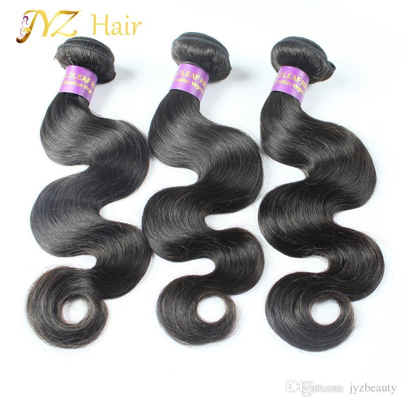 JYZ capelli umani non trattati 3 pacchi onda del corpo capelli vergini brasiliani a buon mercato tessuto dei capelli umani in linea
