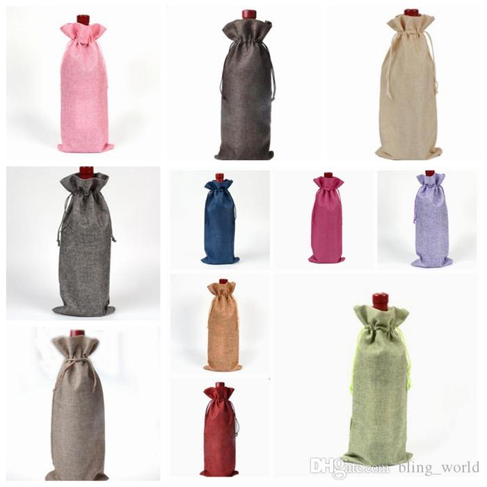 Linen Drawstring Wine Bags Dustproof Wine Bottle Packaging Champagne Pouches Christmas Gift Bags Party Gift Wrap 18 Colors YW226