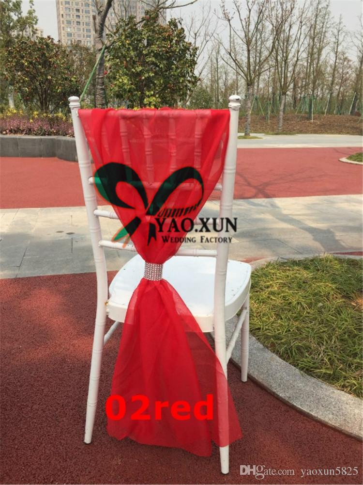 Wholesale Price Organza Chair Bow Chair Sash Fit On Chiavari Chair Decoration Wedding pARTY