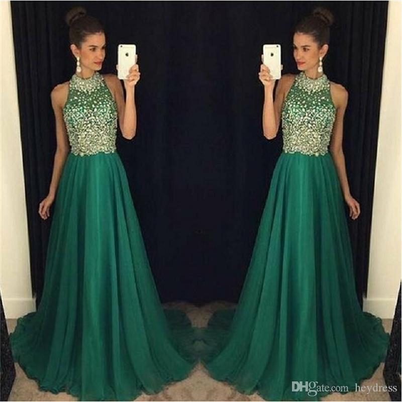 Luxury Emerald Green Prom Dresses Long 2017 High Neck Crystal Beaded ...