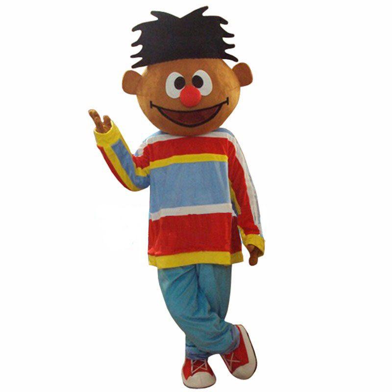 Sunshine Turuncu Boy Lad Ernie Susam Sokağı Maskot Kostüm ile Kırmızı konglobat Büyük Burun Mavi Pantolon Yetişkin Boyut Ücretsiz Kargo