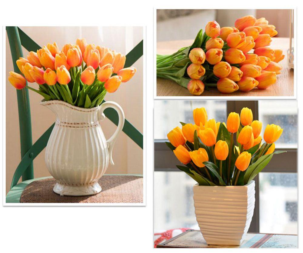 10 Teile / los Künstliche Gefälschte Seide Tulip Blume Real Touch PU Flores für DIY Romantische Mariage Bouquet Party Home Hochzeit Dekoration