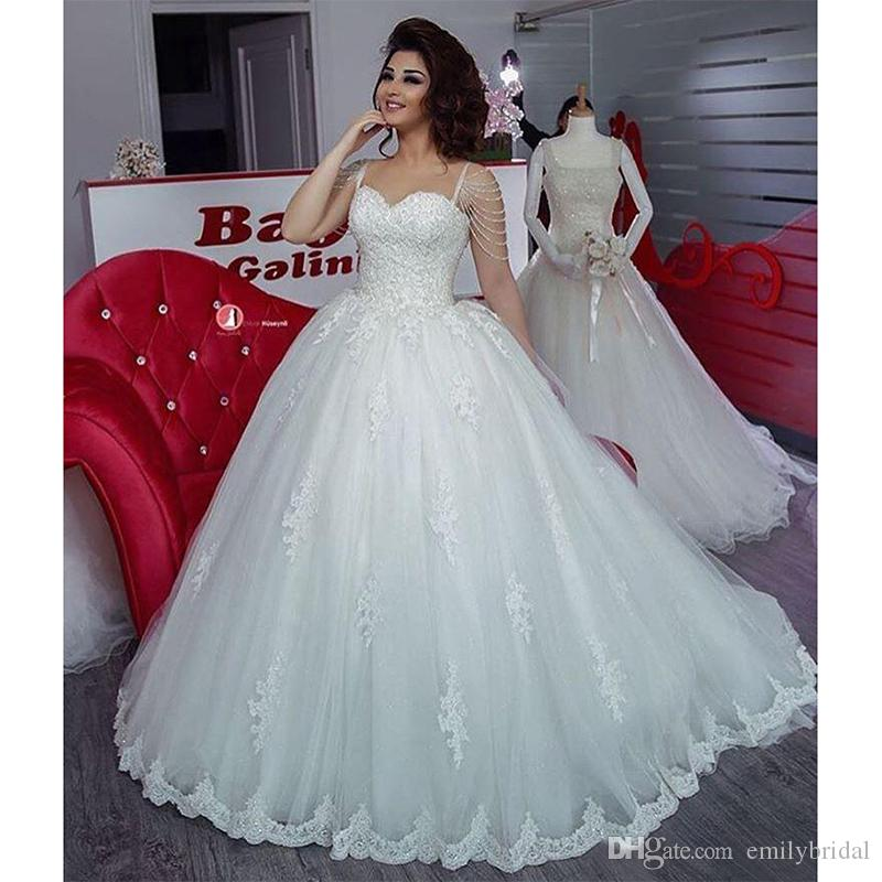 Arabic Plus Size Ball Gown Wedding Dresses Lace Appliques Beaded ...
