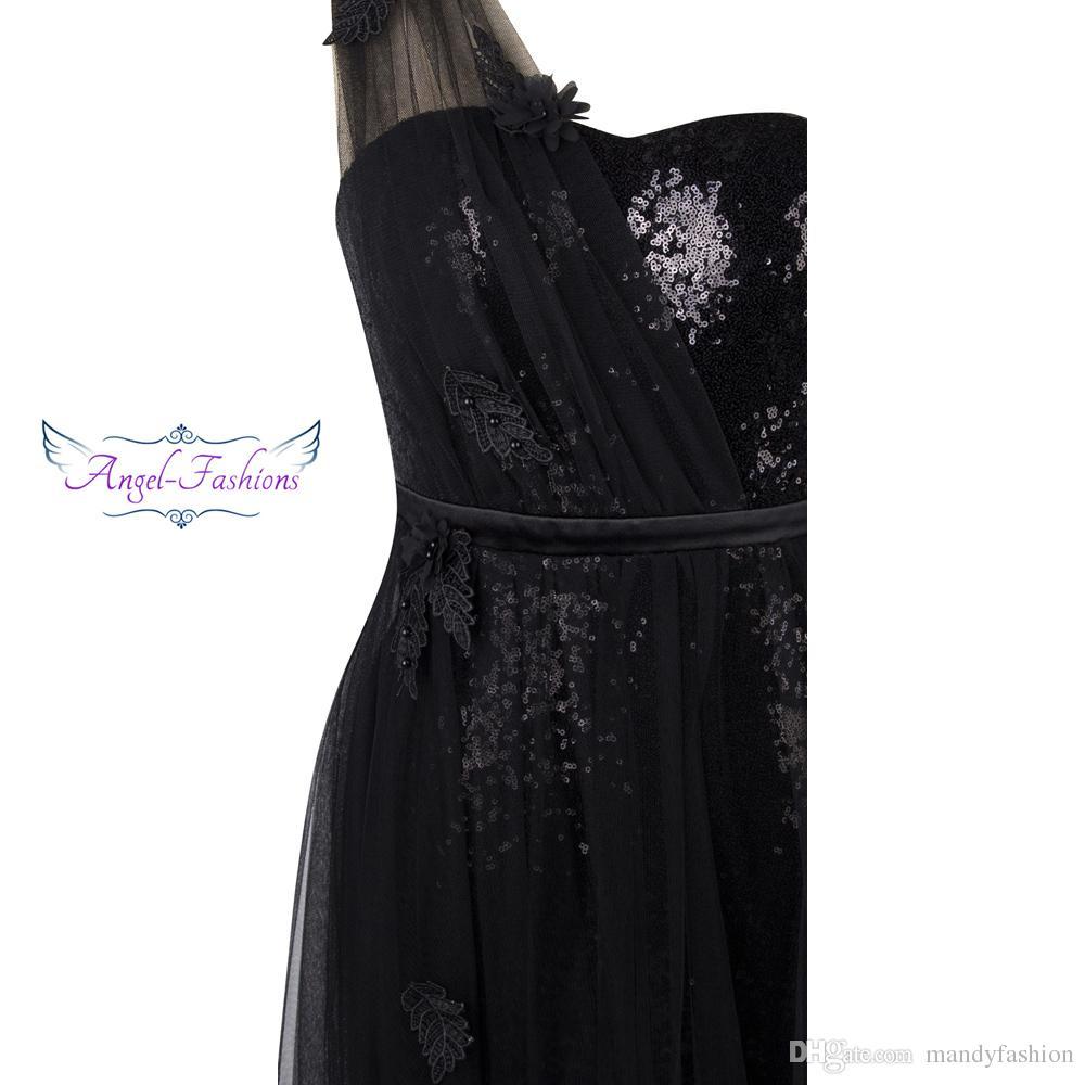 Angel-fashions Femme Plisse Robe de Soiree Appliques