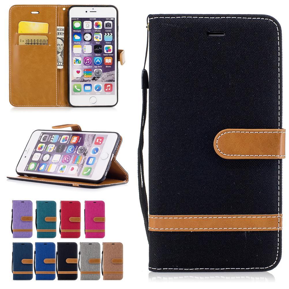 Per iPhone 6 6S Plus 5,5 pollici Custodie in pelle PU Coperchio in tessuto da cowboy con tasche per carte Cinghia con fibbia a strappo