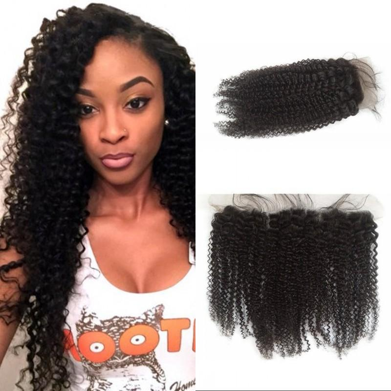 Indian Kinky Curly Virgin Hair Lace Frontal Closure 13x4 Ear To Ear Curly Lace Frontals Non-remy Human Hair FDSHINE