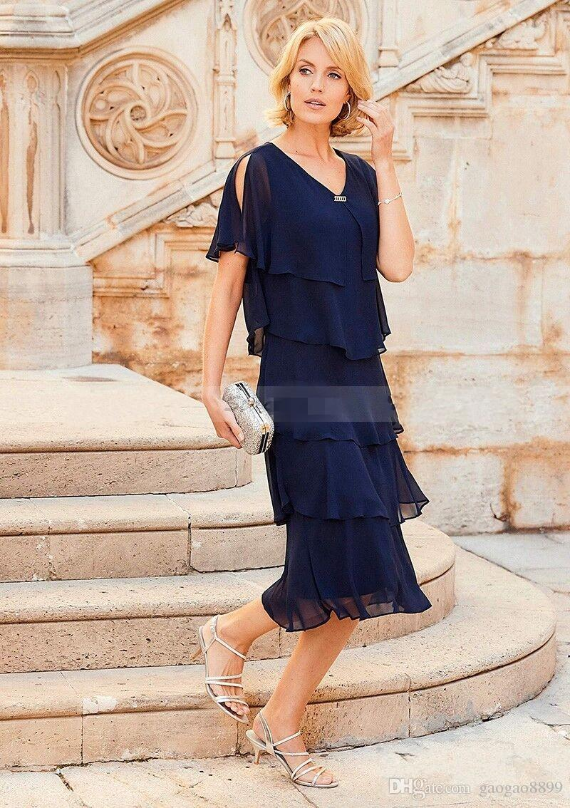 2019 Navy Blue Chiffon Plus Size Mother Of The Bride Dresses With Short Cap  Sleeve V Neck Tiered Tea Length Groom Gowns For Wedding Petite Mother Of ...