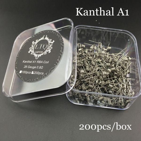 KanthalA1 Prebuilt Coil Wire Resistance 22G 24G 26G 28G Heating Premade Coils for RDA RBA Atomizer Vape 200pcs/box LTQ DHL