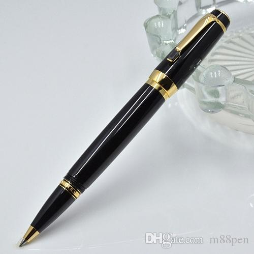 Stylo à boule à rouleaux de résine noire brillante de haute qualité avec gemme de bureau de bureau de bureau Fournitures stylos à billes d'écriture de mode (pas de boîte)