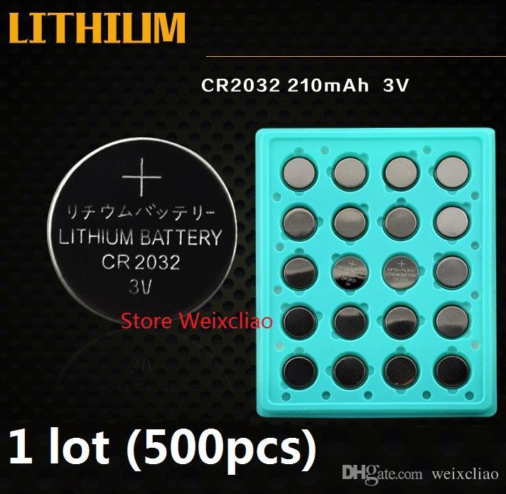 500 قطع 1 وحدة cr2032 3 فولت بطارية ليثيوم أيون زر خلية البطارية cr 2032 3 فولت بطاريات ليثيوم أيون عملة صينية حزمة شحن مجاني