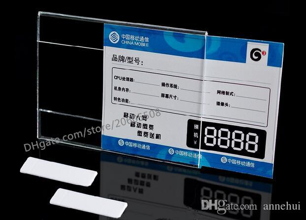 Acrylic T1.2mm Plastic Price Tag Sign Label frame Display Wall Sticker Paper Advertising Promotion Name Card Holders 10pcs Good Quality