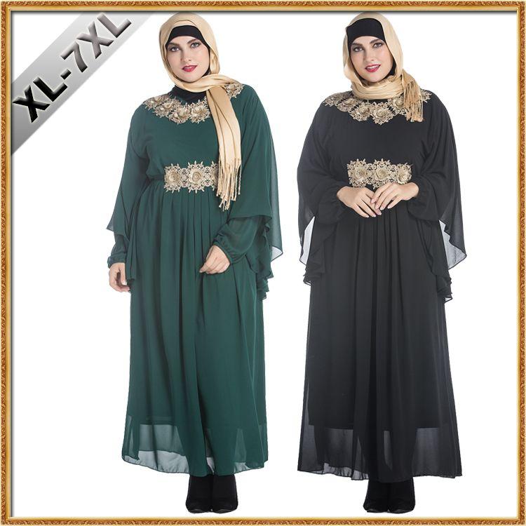 Большой размер жирные женские одежда мусульманские наклейки Малайзия арабские халаты Ближний Восток женские Летучие мыши с длинным рукавом плюс размер макси вышитое шифоновое платье