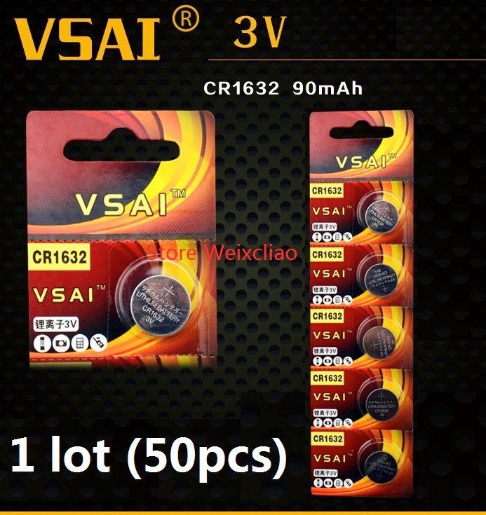 50 stücke 1 los CR1632 3 V lithium li ionen Knopfzelle CR 1632 3 Volt li-ion münze batterien VSAI Kostenloser Versand