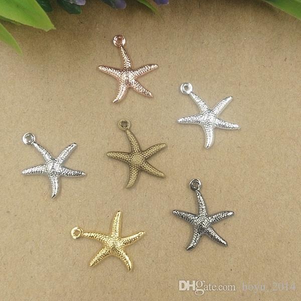 BoYuTe 100 Pz 15 * 18mm 7 colori vintage Starfish fascini ottone all'ingrosso Materiale fascini del pendente Gioielli fai da te