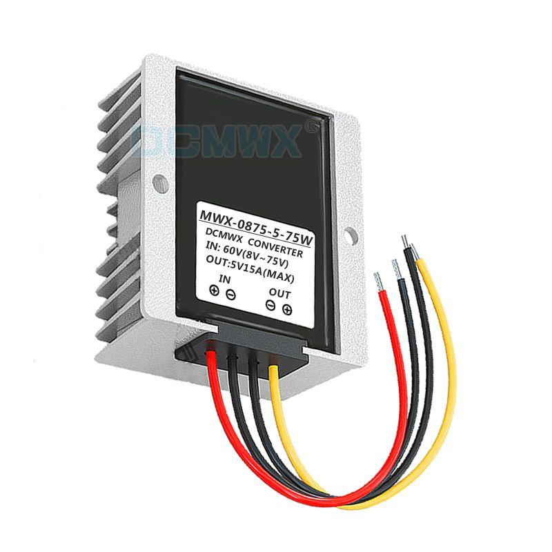DCMWX® buck convertisseurs de tension 60V48V36V24V12V Drop à 5V abaissent l'alimentation de voiture onduleurs Entrée DC8V-75V sortie 5V3A5A8A10A12A15A étanche