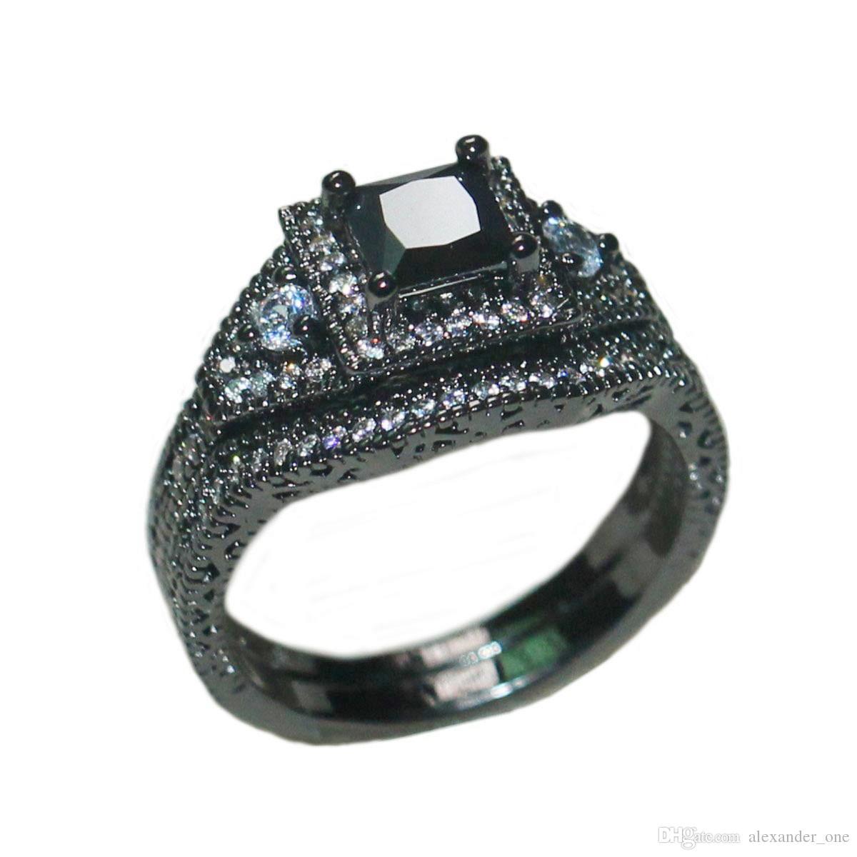 Moda 10KT Anelli con pietre preziose riempite in oro nero con nuovi gioielli di design per le donne Fidanzamento con fascia per matrimonio