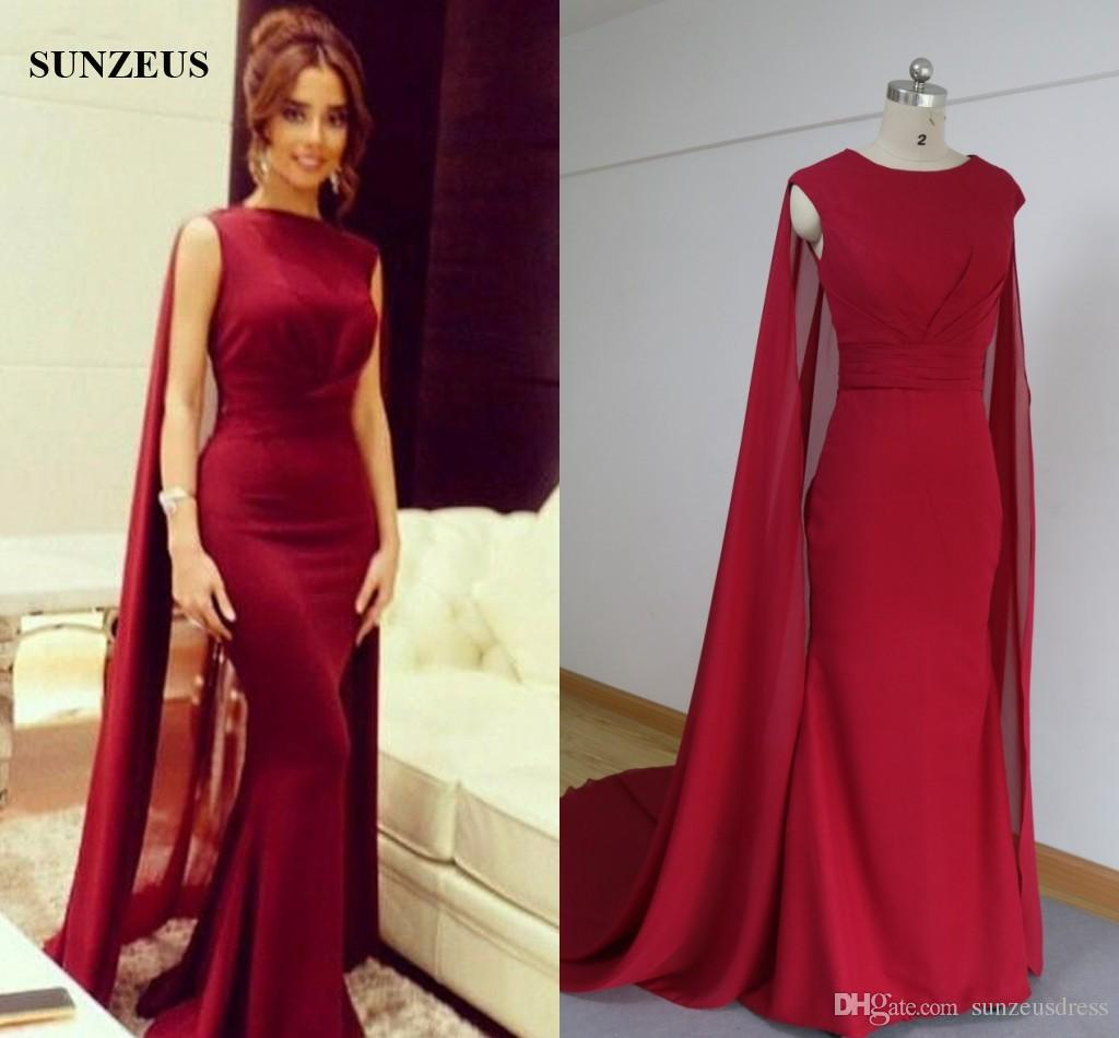 Großhandel Saudi Arabisch Muslimischen Abendkleid Mit Langen Cape Weinrot  Chiffon Formelle Kleidung Mantel Promi Party Kleider Kaftan Von