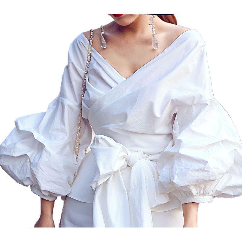 YÜKSEK KALITE Yeni Moda 2017 Pist Tasarımcı Tarzı kadın Büyük Fener Kol V Yaka Yay Gevşek Üst Gömlek