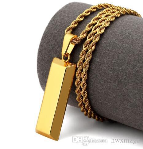 Hip Hop collar 18k cadena de la cuerda de oro chapado de oro de ladrillo hacia fuera helado colgante