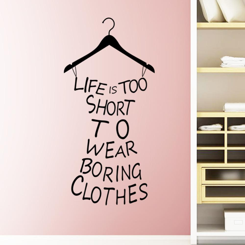 Bedroom wall art quotes - Creative Dress Vinyl Wall Decals Quotes Life Is Too Short Wall Sticker Words Bedroom Wall Art