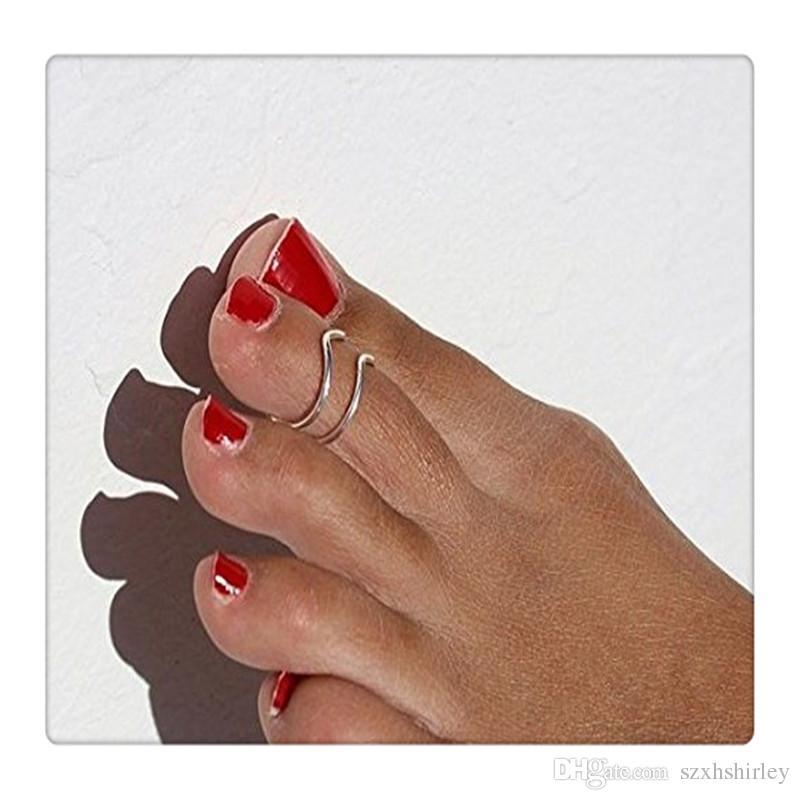 2Pcs Women 8 Shape Fashion Opening Toe Finger Ring Foot Jewelry Beach Gift