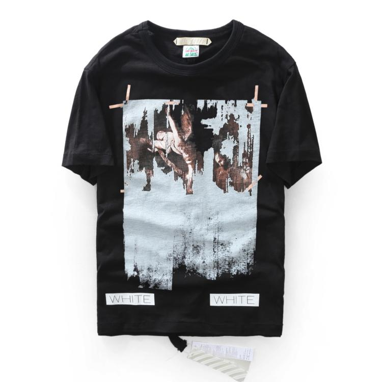 090d51be OFF White C/o Virgil Abloh New Religion Caravaggio Distressed Short Sleeve  Back Seam T-Shirt Kanye Tshirt OFF-White Top Tee
