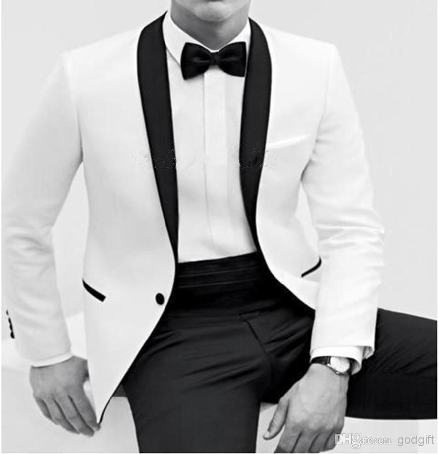 Wholesale- Prezzo a buon mercato 2016 New Year Hote vendita smoking Bianco vestito da uomo Colore processo di butile Collo a scialle bianco abiti da sposo / classico sposo