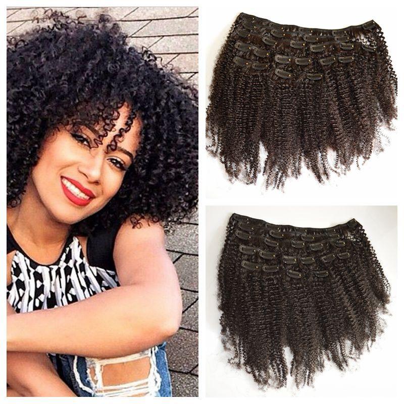Clip in menschlichen Haarverlängerungen verworren kinky lockige clip ins nuvgin brasilianische afro kinky haarverlängerungen g-einfach