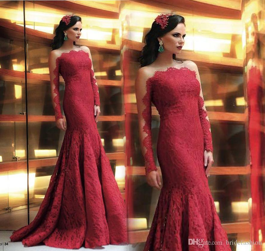 Bateau mermaid long sleeve red floor length Arab Illusion evening dresses guest evening wear prom dress gowns formal cocktail party