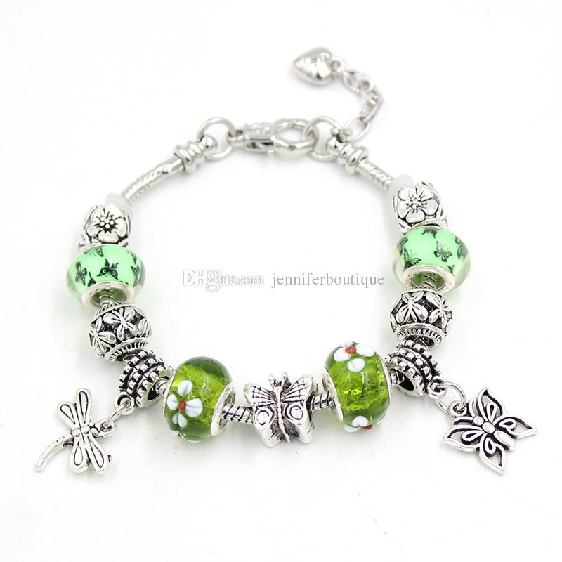 Free Shipping DIY Green Lampwork Murano Glass Bead Bracelet Jewelry Spring Butterfly Dragonfly Charm Bracelets for Women Gift Pulsera Bijoux