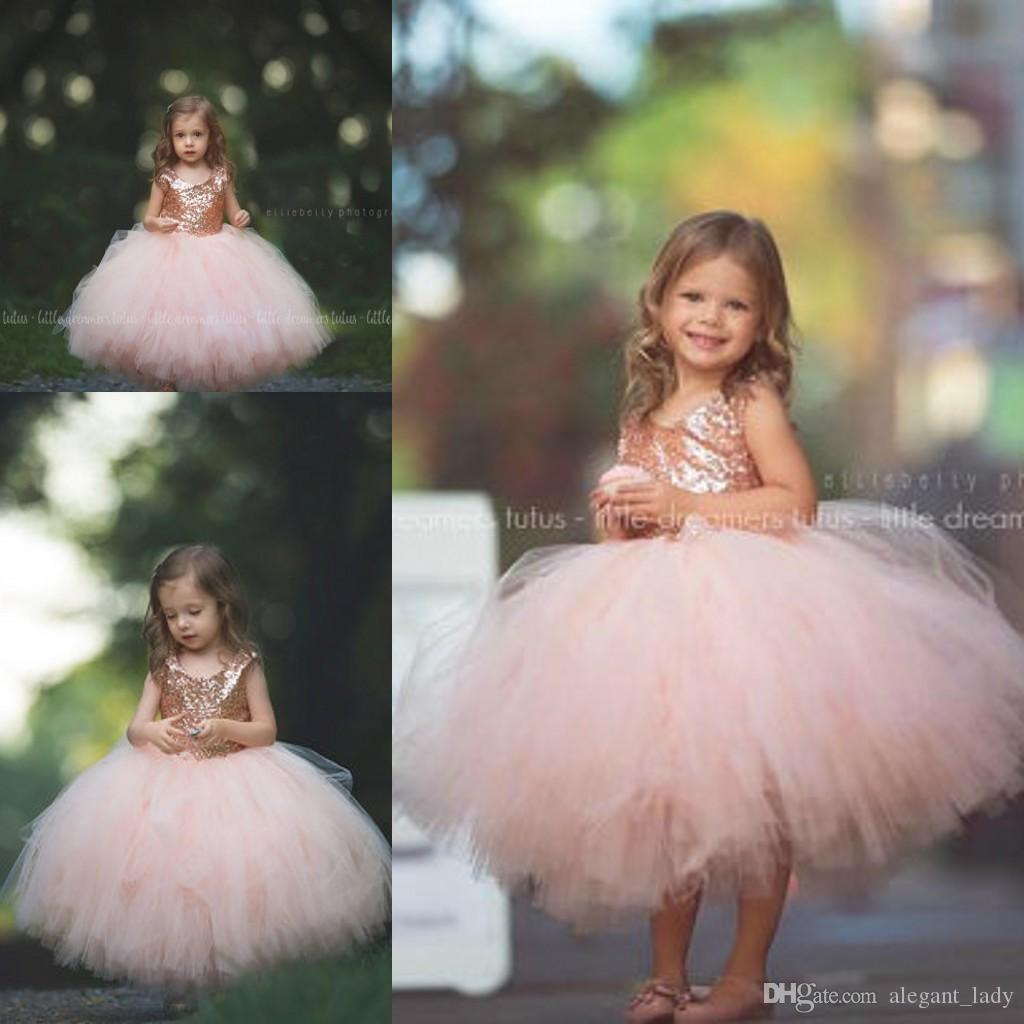 Lentejuelas de oro rosa Blush Tutu Vestidos para niñas de flores Falda abullonada Largo pequeño Niño pequeño Fiesta de bodas infantil Comunión Vestido Forml