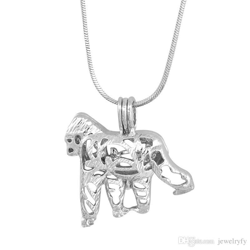 Nuovo design gorilla gabbia ciondolo, perla gemma perle pendente medaglione di montaggio, gioielli fai da te accessori di fascini